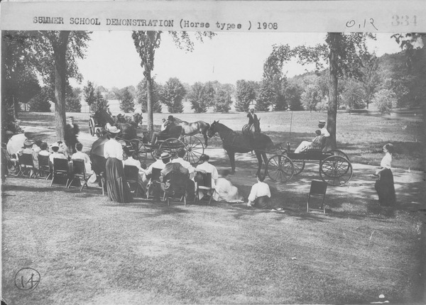 Summer school demonstration of horses, 1908