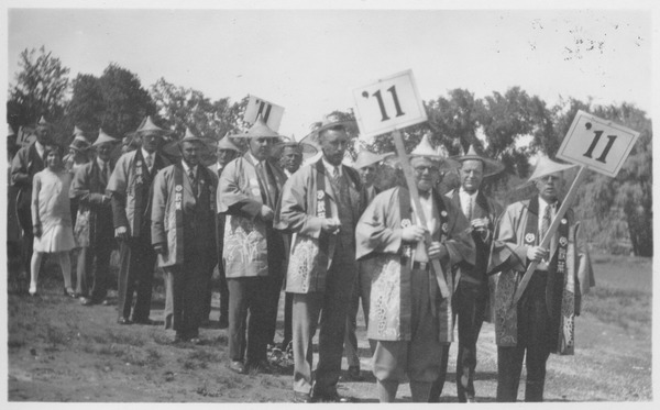 Class of 1911 alumni in Asian costumes at a reunion., ca. 1931