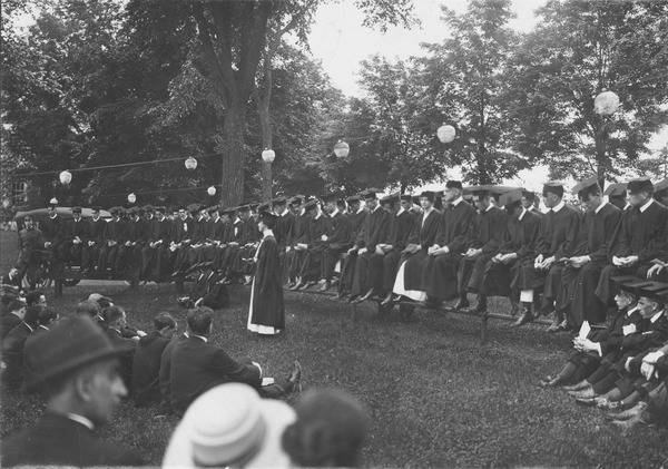 Class of 1916 in caps and gowns, ca. 1916