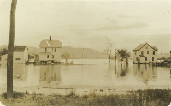 Connecticut River isolating Hadley houses during flood crest, November 5, 1927