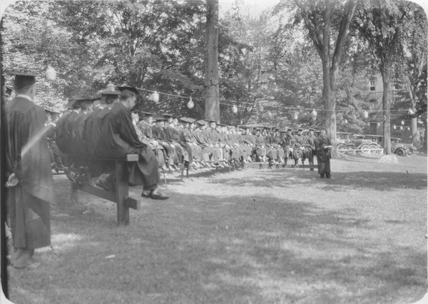 Class Day speaker on campus lawn, June 1931