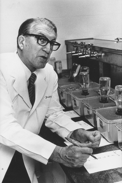 Amedeo Bondi at work in laboratory, ca. 1969