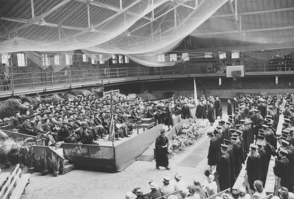 Graduates receive their degrees in Curry Hicks Cage, June 7, 1948