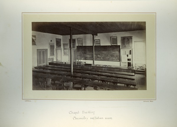 Chapel Building, chemistry recitation room, Massachusetts Agricultural College, ca. 1876
