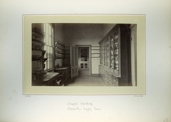 Chapel Building, chemistry supply room, Massachusetts Agricultural College, ca. 1876