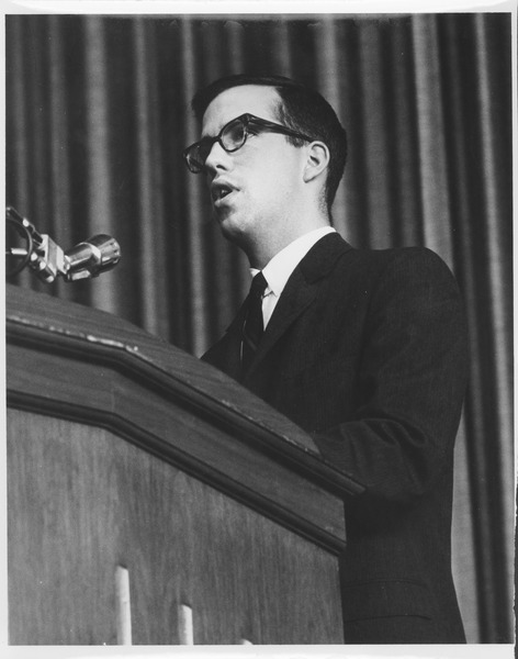Unidentified speaker at the Centennial Honors Day convocation, May 9, 1963