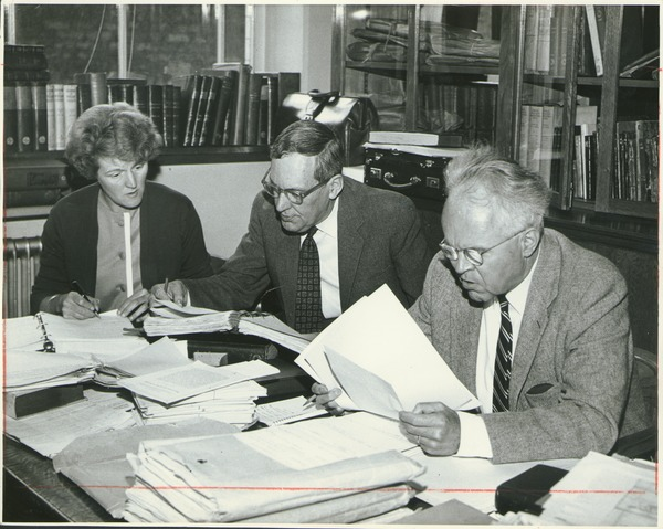 Prof. Thomas Copeland editing a manuscript, April 28, 1963