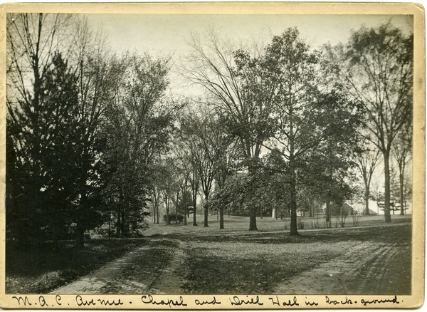 M.A.C. Avenue, Chapel and Drill Hall in back-ground, ca. 1910