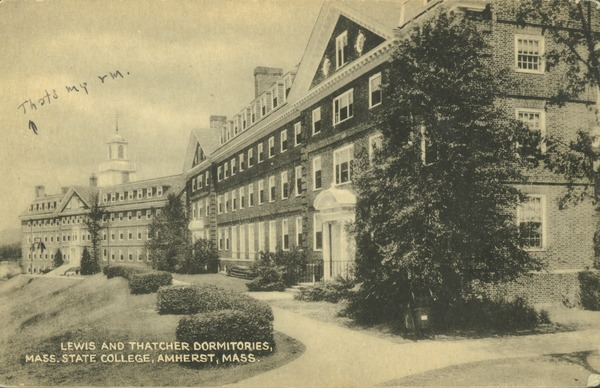 Lewis and Thatcher dormitories, Mass. State College, Amherst, Mass., ca. 1940