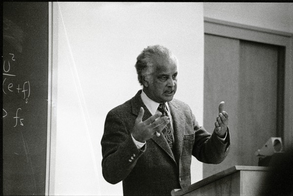 Portrait of Edwin D. Driver, lecturing, 1989