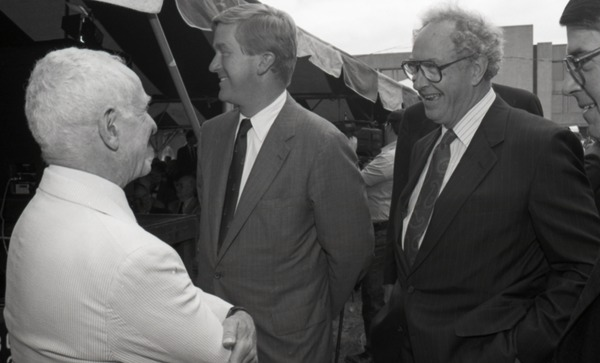Ceremonial groundbreaking for the Conte Center: Richard Stein chatting with Gov.             William Weld and Provost Richard O'Brien (l. to r.), July 30, 1991