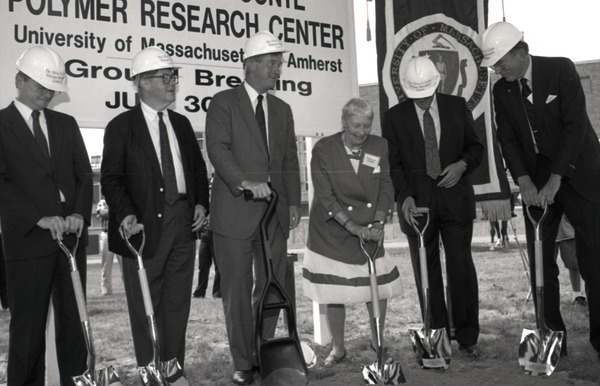 Ceremonial groundbreaking for the Conte Center: Gov. William Weld and Corrine             Conte (both at center) preparing for ceremonial first shovel, July 30, 1991