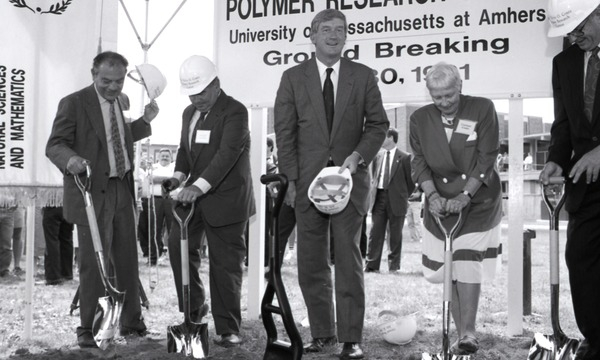 Ceremonial groundbreaking: group including Gov. William Weld (center), flanked