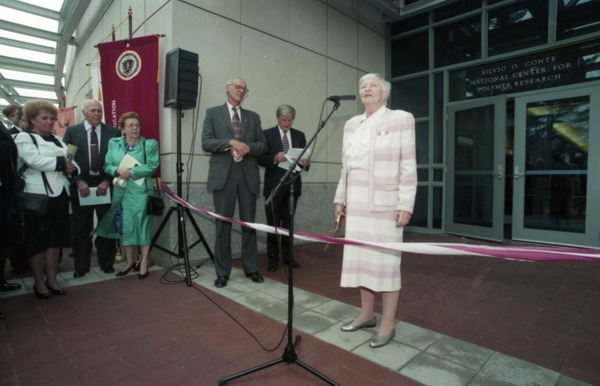 Dedication ceremonies for the Conte Polymer Center: Corinne Conte addressing the         crowd, April 12, 1996