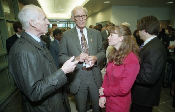 Dedication ceremonies for the Conte Polymer Center: John Olver mingling at the reception, April 12, 1996