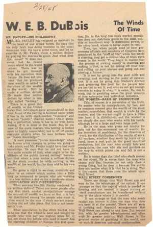 "Clipping from Du Bois' Chicago Defender column, ""The Winds of Time""."