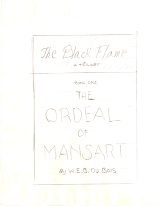 "Hand drawn sketch of cover of ""The Black Flame: a Trilogy"", circa 1957"